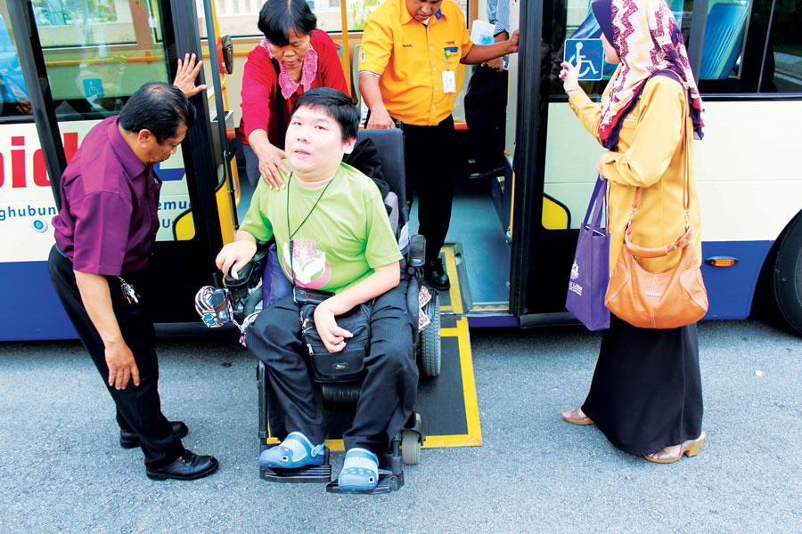 Rapid KL bus with accessible facility for person with wheelchair